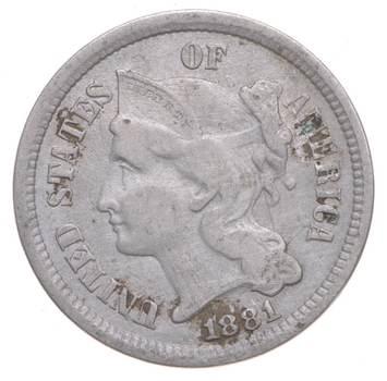 ***3***THREE***Cent*** 1881 Three Cent Nickel Piece - Tough to Find