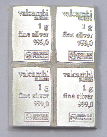 (4) One Gram .999 Fine Silver Valcambi Bar - Total of 4 Bars - Great for bartering