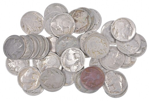 40 - Dated 1920's and 1930's Buffalo Indian Nickels - Roll Lot Collection