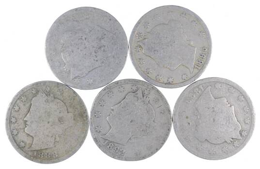 5 Better Date 1890 1895 1888 1892 1893 Liberty V Nickel Collection Lot