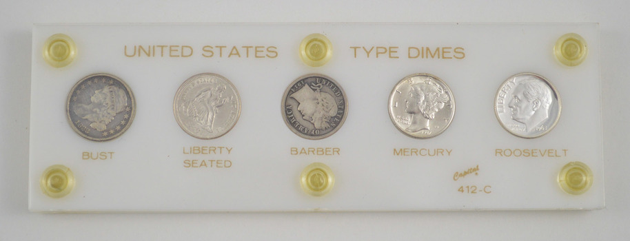 5 Coins - US Historic Type Dimes Set - Seated - Roosevelt