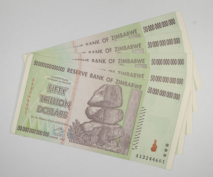 5 Consecutive 50 TRILLION Dollar Zimbabwe Uncirculated Notes 2008 Authentic