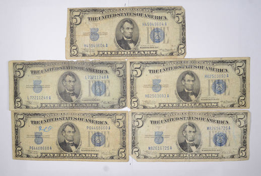 5 Note Lot - 1934 $5 Silver Certificate Blue Seal US Collection