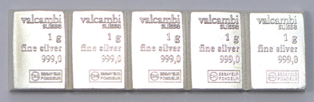 (5) One Gram .999 Fine Silver Valcambi Bar - Total of 5 Bars - Great for bartering