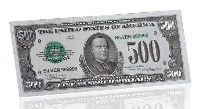 $500 Colored Silver Foil Novelty- Replica Bank Note