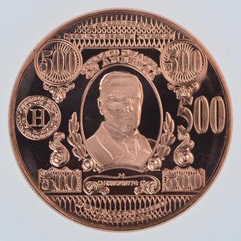 $500.00 Note - Currency Tribute Series - 1 Oz .999 Fine Copper Round