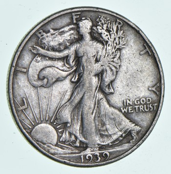 50c SHARP - 1939-D Walking Liberty 90% Silver US Half Dollar