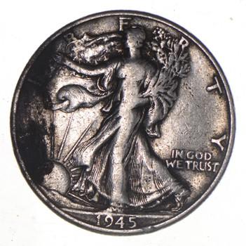 50c SHARP - 1945 Walking Liberty 90% Silver US Half Dollar