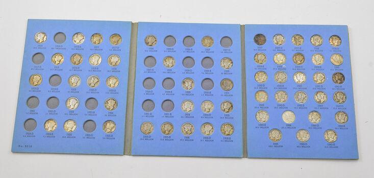 58 Coins 1916-1945 Mercury Dimes Partial Set Collection - 90% Silver