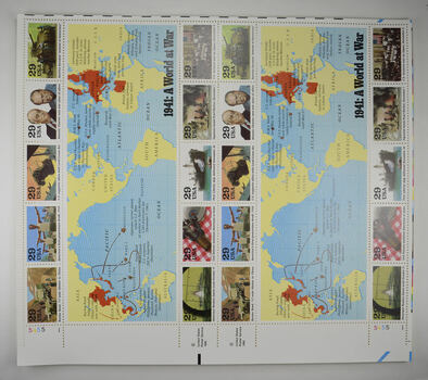 $5.80 Face Value - Unused Postage - 1941: A World At War Stamp Collector's Sheet (29c)