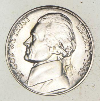 5c BU Unc MS 1942-S Jefferson WARTIME Silver Nickel