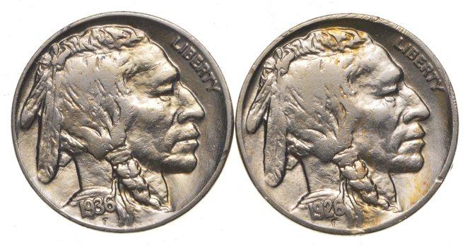 5c Buffalo Nickels - Great Detail in Buffalo Horn - 1926 & 1936 - Sweet!