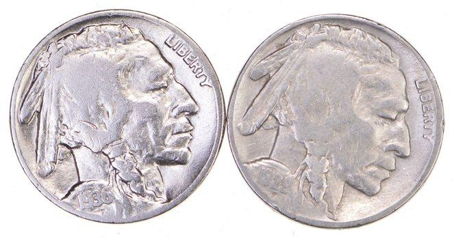 5c Buffalo Nickels - Great Detail in Buffalo Horn - 1929 & 1936 - Sweet!