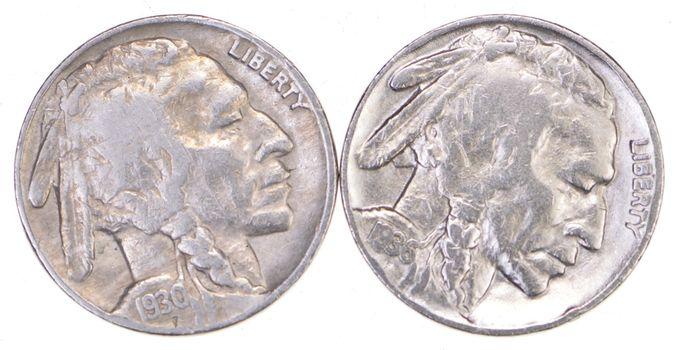 5c Buffalo Nickels - Great Detail in Buffalo Horn - 1930 & 1936 - Sweet!