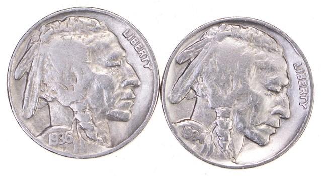 5c Buffalo Nickels - Great Detail in Buffalo Horn - 1934 & 1936 - Sweet!