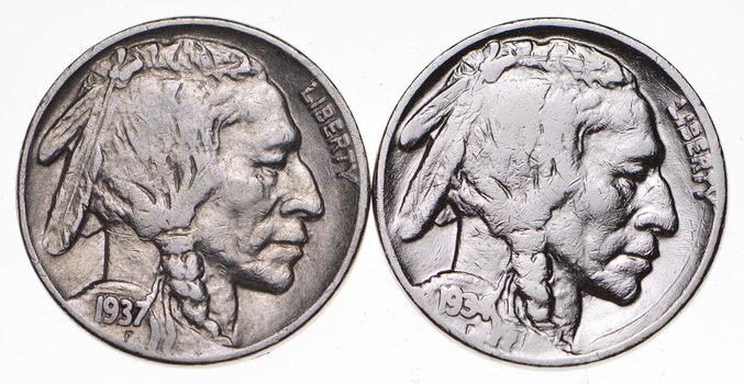 5c Buffalo Nickels - Great Detail in Buffalo Horn - 1934 & 1937 - Sweet!