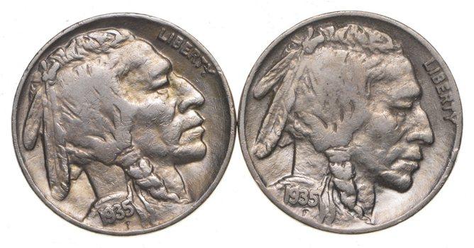 5c Buffalo Nickels - Great Detail in Buffalo Horn - 1935 & 1935 - Sweet!