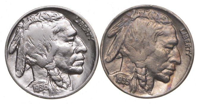 5c Buffalo Nickels - Great Detail in Buffalo Horn - 1935 & 1936 - Sweet!