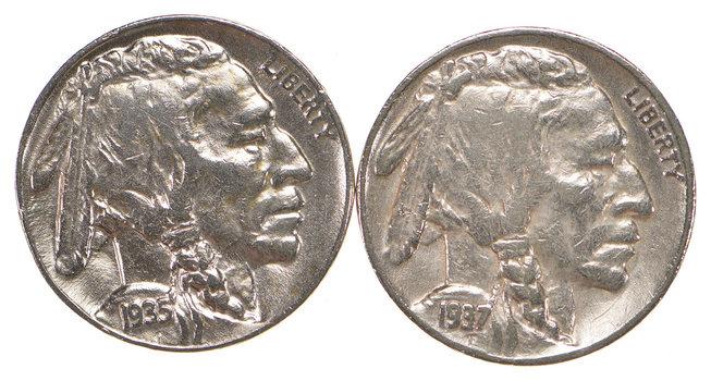 5c Buffalo Nickels - Great Detail in Buffalo Horn - 1935 & 1937 - Sweet!