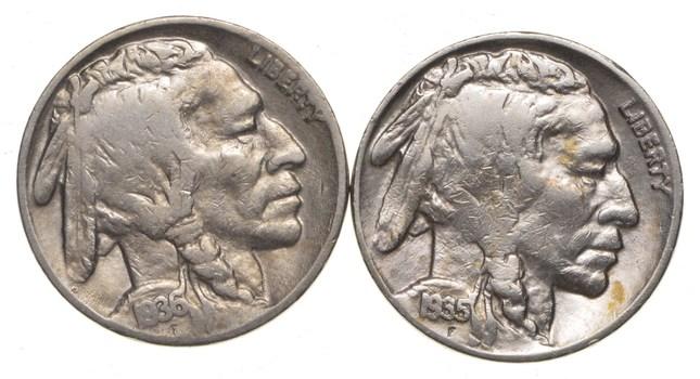 5c Buffalo Nickels - Great Detail in Buffalo Horn - 1935-D & 1936 - Sweet!