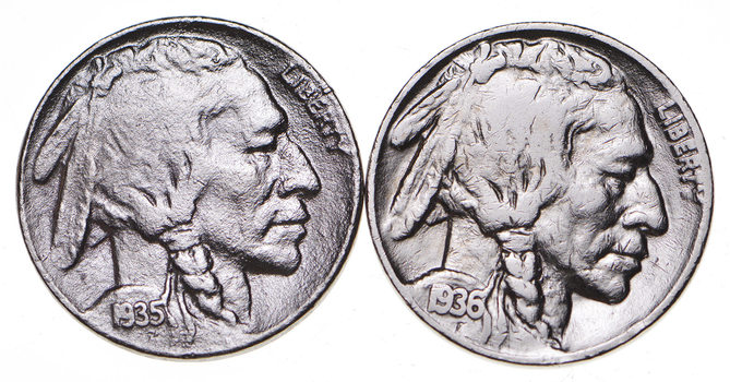 5c Buffalo Nickels - Great Detail in Buffalo Horn - 1936 & 1935 - Sweet!