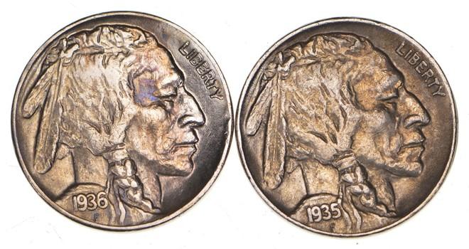 5c Buffalo Nickels - Great Detail in Buffalo Horn - 1936 & 1935 - Sweet!
