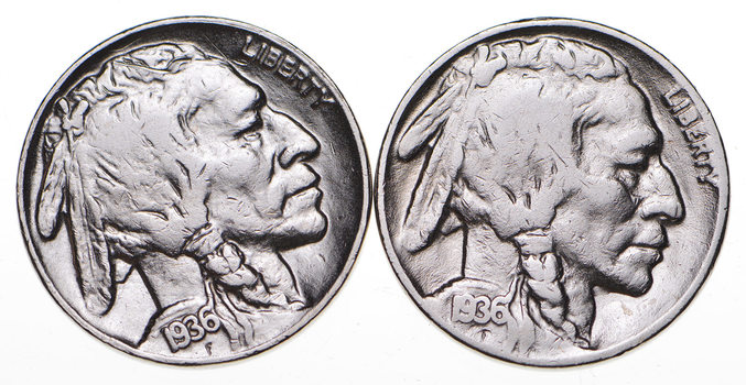 5c Buffalo Nickels - Great Detail in Buffalo Horn - 1936 & 1936 - Sweet!