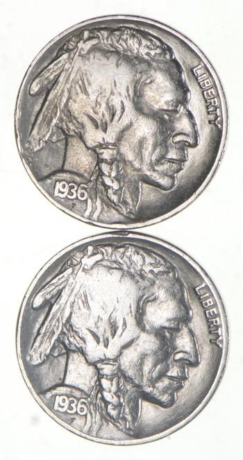 5c Buffalo Nickels - Great Detail in Buffalo Horn - 1936 & 1936 - Sweet!