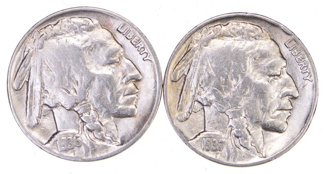 5c Buffalo Nickels - Great Detail in Buffalo Horn - 1936 & 1937 - Sweet!
