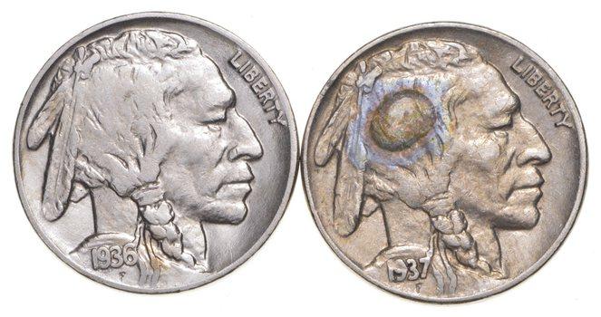 5c Buffalo Nickels - Great Detail in Buffalo Horn - 1936 & 1937 - Sweet!
