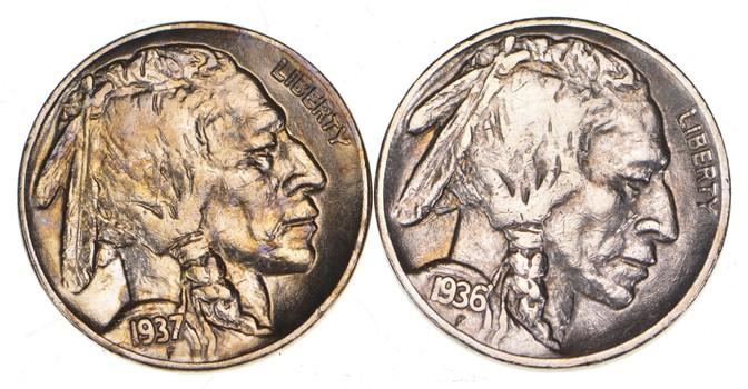 5c Buffalo Nickels - Great Detail in Buffalo Horn - 1936-S & 1937 - Sweet!