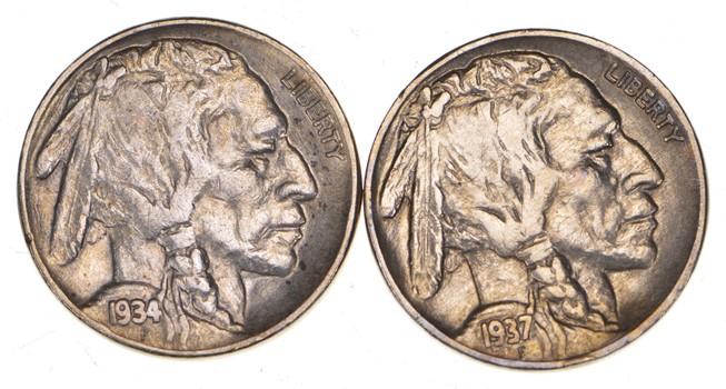 5c Buffalo Nickels - Great Detail in Buffalo Horn - 1937 & 1934 - Sweet!