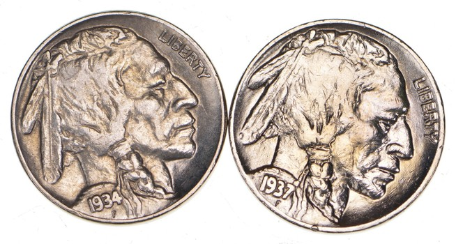 5c Buffalo Nickels - Great Detail in Buffalo Horn - 1937 & 1934 - Sweet!