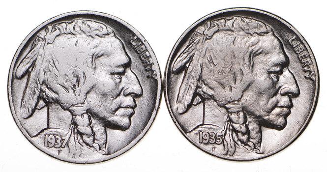 5c Buffalo Nickels - Great Detail in Buffalo Horn - 1937 & 1935-S - Sweet!