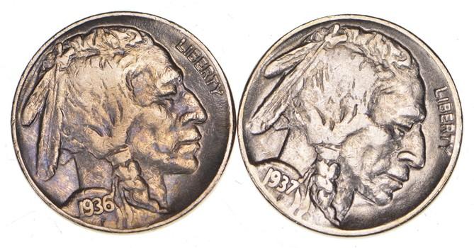 5c Buffalo Nickels - Great Detail in Buffalo Horn - 1937 & 1936 - Sweet!