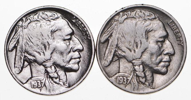5c Buffalo Nickels - Great Detail in Buffalo Horn - 1937 & 1937 - Sweet!