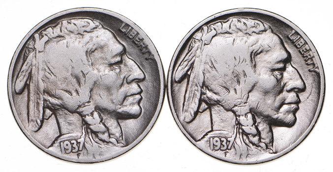 5c Buffalo Nickels - Great Detail in Buffalo Horn - 1937-D & 1937 - Sweet!