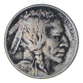 5c S Mint Marked - 1919 Buffalo Indian Head Nickel - Better Date - High Redbook Value