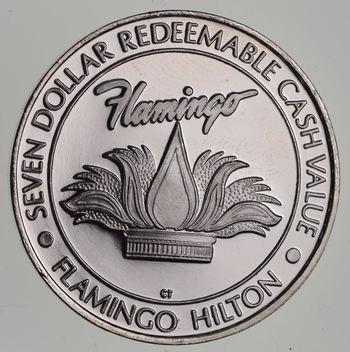 $7.00 Flamingo Hilton .65 troy oz .999 Fine Silver Casino Token