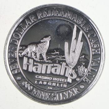 $7.00 Harrah's Casino Hotel .65 troy oz .999 Fine Silver Casino Token