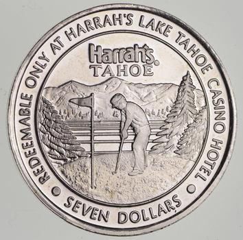 $7.00 Harrah's Lake Tahoe .65 troy oz .999 Fine Silver Casino Token