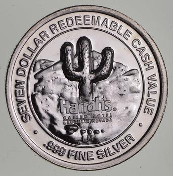 $7.00 Harrah's Laughlin Nevada .65 troy oz .999 Fine Silver Casino Token