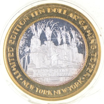 .999 Fine Silver Center New York New York Casino Chip Limited Edition $ 10 Token - Rare - Approx 0.60 T Oz ASW