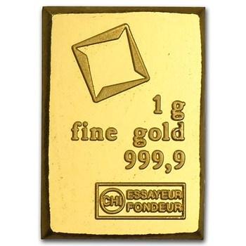 999.9 Fine Gold Bar - Solid 24 Carats - 1 Gram - Valcambi Suisse