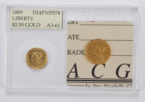 A3-61 1869 $2.50 Liberty Head Gold Quarter Eagle - Accugrade Graded