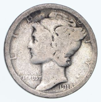 ALMOST 100 Years OLD 1918-S Mercury Liberty 90% Silver United States Dime