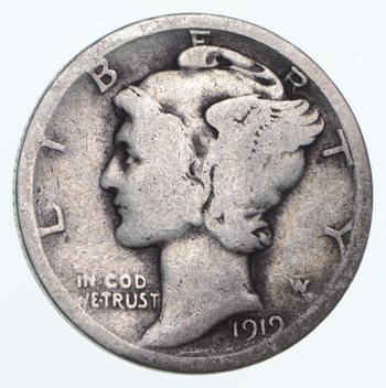 ALMOST 100 Years OLD 1919 Mercury Liberty 90% Silver United States Dime