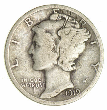 ALMOST 100 Years OLD 1919-D Mercury Liberty 90% Silver United States Dime