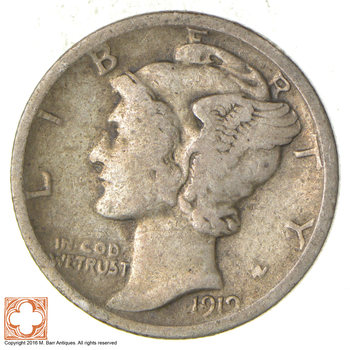 ALMOST 100 Years OLD 1919-S Mercury Liberty 90% Silver United States Dime