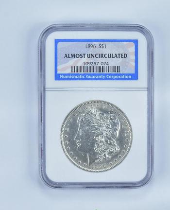 ALMOST UNC 1896 Morgan Silver Dollar - Slabbed NGC